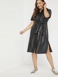 Faux Leather Trench Dress at Eloquii