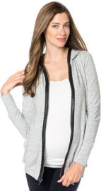 Faux Leather Trim Hoodie at A Pea in the Pod
