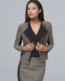 Faux Leather Trim Tweed Moto Jacket at WHBM