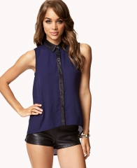 Faux Leather Trimmed Shirt at Forever 21