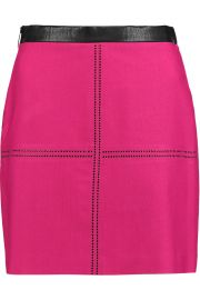 Faux Leather-Trimmed Studded Twill Mini Skirt at The Outnet