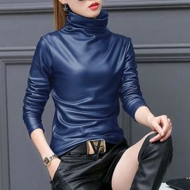 Faux Leather Turtleneck at Sonja