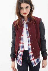 Faux Leather Varsity Jacket at Forever 21