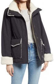 Faux Shearling & Cotton Blend Barn Jacket at Nordstrom