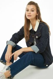 Faux Shearling Collar Denim Jacket at Forever 21