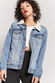 Faux Shearling Lined Denim Jacket at Forever 21