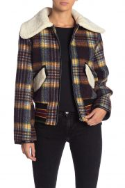 Faux Shearling Trim Plaid Bomber Jacket at Nordstrom Rack