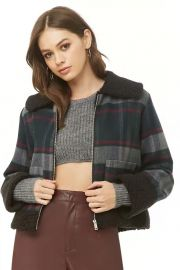 Faux Shearling-Trim Plaid Jacket at Forever 21