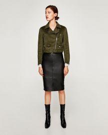Faux Suede Biker Jacket in Olive Green by Zara at Zara