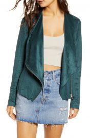 Faux Suede Drape Front Jacket at Nordstrom