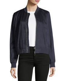 Faux-Suede Embroidered Bomber Jacket at Last Call