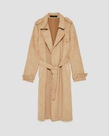 Faux Suede Trench Coat at Zara