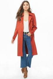 Faux Suede Trench Coat by Forever 21 at Forever 21