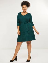 Faux-Wrap Fit & Flare Sweater Dress at Lane Bryant