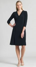 Faux Wrap V-Neck 3 4 Sleeve Dress at Clara Sunwoo