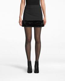 Faux fur mini skirt at Nicole Miller