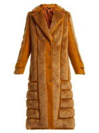 Faux fur-trimmed jute-blend coat at Matches