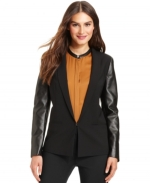 Faux leather sleeve blazer by DKNY at Macys