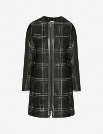 Faux-leather-trimmed checked woven jacket at Selfridges