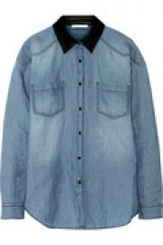 Faux leather-trimmed cotton and linen-blend chambray shirt at The Outnet
