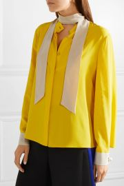 Faux pearl-embellished silk crepe de chine blouse by Fendi at Net A Porter