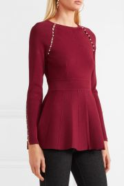 Faux pearl-embellished stretch-knit top by Lela Rose at Net A Porter
