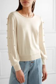 Faux pearl-embellished wool and cashmere-blend sweater by Marc Jacobs at Net A Porter