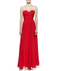 Faviana Strapless Draped Gown Red at Neiman Marcus