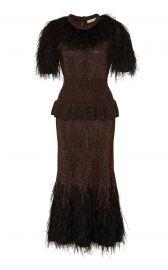 Feather-Embellished Metallic Peplum Dress by Michael Kors Collection at Moda Operandi