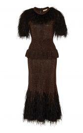 Feather Embroidered Metallic Knit Peplum Dress by Michael Kors at Moda Operandi