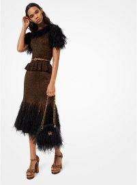 Feather Embroidered Metallic Knit Peplum Dress by Michael Kors at Michael Kors