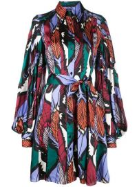 Feather Print Shirt Dress with Tie Waist at Kirna Zabete