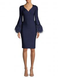 Feather-Trim Bandage Dress at Saks Fifth Avenue