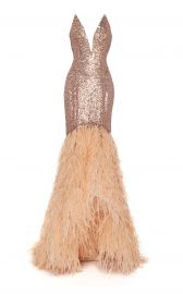 Feather-Trim Sequined Gown at Moda Operandi