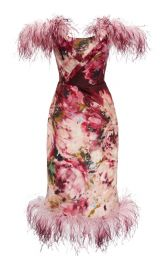 Feather-Trimmed Floral-Print Silk Dress by Marchesa at Moda Operandi