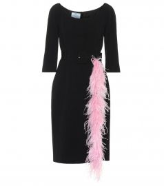 Feather-trimmed cr  pe dress at Mytheresa