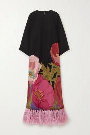 Feather-trimmed floral-print silk crepe de chine maxi dress at Net A Porter