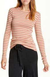 Feeder Stripe Long Sleeve Pima Cotton Blend Top at Nordstrom