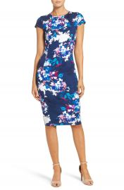 Felicity   Coco Floral Ponte Sheath Dress  Regular   Petite   Nordstrom Exclusive at Nordstrom