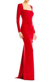 Felicity Long Sleeve Jersey Gown red at Nicole Miller