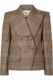 Fendi - Double-breasted Prince of Wales checked wool jacket at Net A Porter