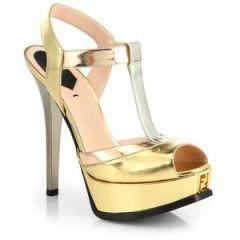 Fendi - Fendista Metallic T-Strap Platform Sandals at Saks Fifth Avenue