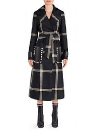 Fendi - Jacquard Macro Wool Check Coat at Saks Fifth Avenue