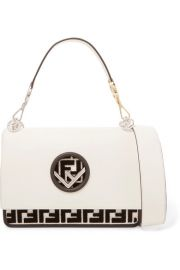 Fendi - Kan I flocked leather shoulder bag at Net A Porter