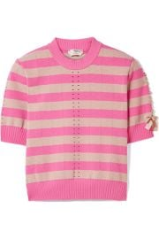 Fendi - Lace-up striped pointelle-knit top at Net A Porter
