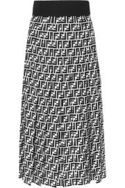 Fendi - Printed silk-georgette midi skirt at Net A Porter