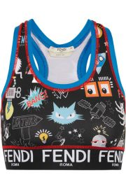 Fendi - Printed stretch-jersey sports bra at Net A Porter