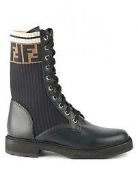 Fendi - Rockoko Knit Leather Combat Boots at Saks Fifth Avenue