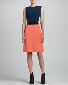Fendi Colorblock Dress  Navy Coral at Neiman Marcus