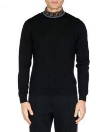 Fendi Men  x27 s FF Mock-Neck Fleece Sweater at Neiman Marcus